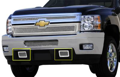 T-Rex - Chevrolet Silverado T-Rex Upper Class Polished Stainless Mesh Tow Hook Bumper Grille - 2PC - 55115