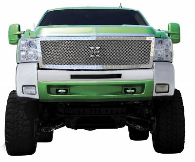 T-Rex - Chevrolet Silverado T-Rex X-Metal Series Studded Main Grille - Polished Stainless Steel - Custom - 1PC - 6711130