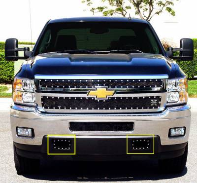 T-Rex - Chevrolet Silverado T-Rex X-Metal Series Studded Tow Hook Bumper Grille - All Black - 2PC - 6721151