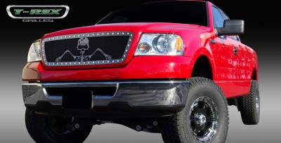 T-Rex - Ford F150 T-Rex Urban Assault Grunt Studded Main Grille with Soldier - Black OPS Flat Black - 7115566