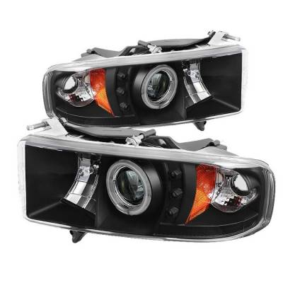 Spyder - Dodge Ram Spyder Projector Headlights - CCFL Halo - LED - Black - 444-DR99-SP-CCFL-BK
