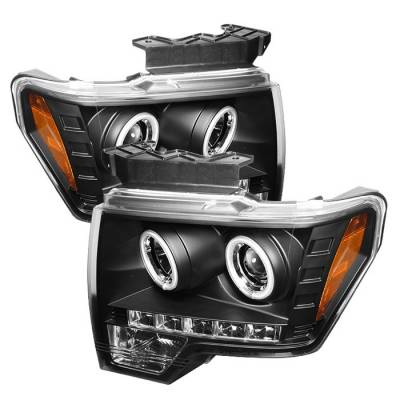 Spyder - Ford F150 Spyder Projector Headlights CCFL Halo - LED - Black - 444-FF15009-CCFL-BK