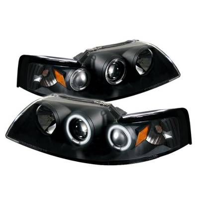 Spyder - Ford Mustang Spyder Projector Headlights - CCFL Halo - Black - 444-FM99-1PC-CCFL-BK