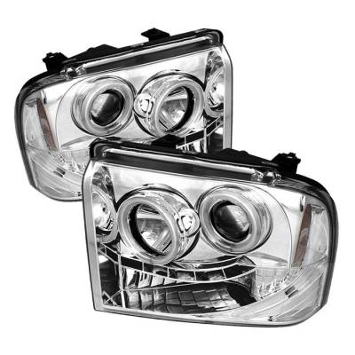 Spyder - Ford F350 Superduty Spyder Projector Headlights - CCFL Halo - LED - Chrome - 444-FS05-CCFL-C