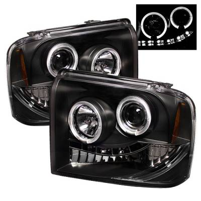 Spyder - Ford F350 Superduty Spyder Projector Headlights - LED Halo - LED - Black - 444-FS05-HL-BK