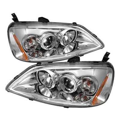 Spyder - Honda Civic 2DR & 4DR Spyder Projector Headlights - CCFL Halo - Chrome - 444-HC01-CCFL-C