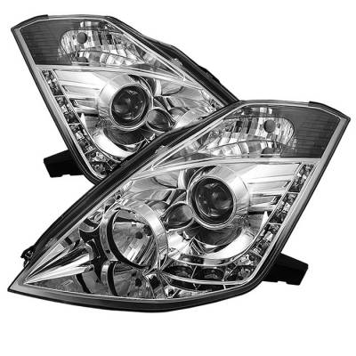 Spyder - Nissan 350Z Spyder Projector Headlights - Xenon HID Model Only - DRL - Chrome - 444-N350Z02-HID-DRL-C