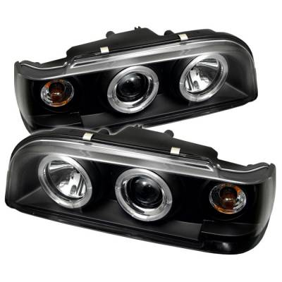 Spyder - Volvo 850 Spyder Projector Headlights - LED Halo - Black - 444-VO85092-HL-BK