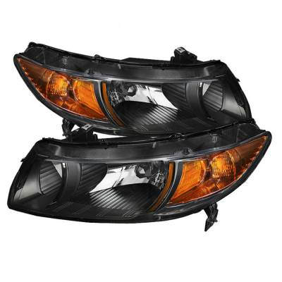 Spyder - Honda Civic 2DR Spyder Amber Crystal Headlights - Black - HD-JH-HC06-2DR-AM-BK