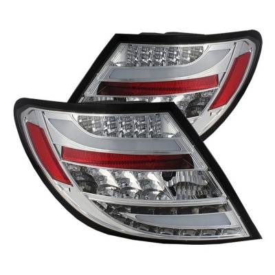 Spyder - Mercedes-Benz C Class Spyder LED Taillights - Chrome - 111-MBZC08-LED-C