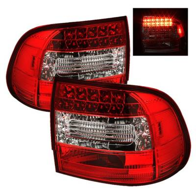 Spyder - Porsche Cayenne Spyder LED Taillights - Red Clear - 111-PCAY03-LED-RC