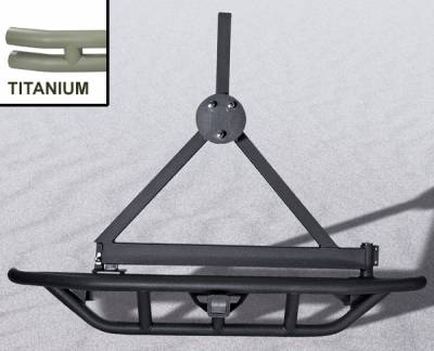 Omix - Outland RRC - Rear Bumper with Tire Carrier - Titanium - 11503-14