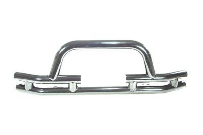 Omix - Outland Front Bumper with Winch Cut Out - Stainless - 11563-03