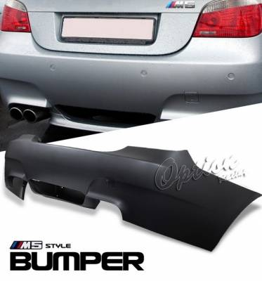 OptionRacing - BMW 5 Series Option Racing Bumper - M5 Look - Rear without Sensor Hole - 29-12119