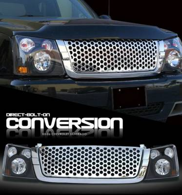 OptionRacing - Chevrolet Silverado Option Racing Headlights - Black with Chromed Punch Hole Grille - 10-15269