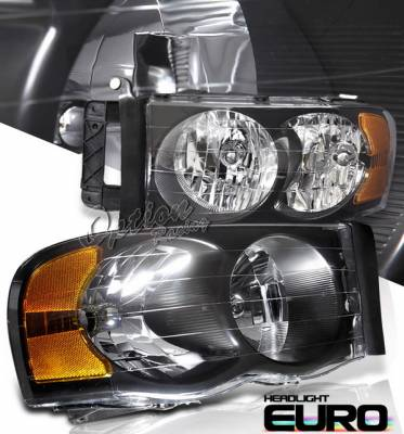 OptionRacing - Dodge Ram Option Racing Headlights - Black - 10-17293