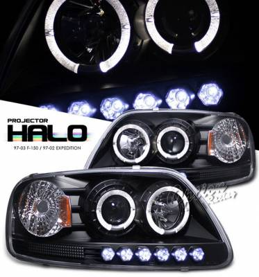 OptionRacing - Ford F150 Option Racing Projector Headlights - Black with Halo with LED - 1PC - 11-18317-J1