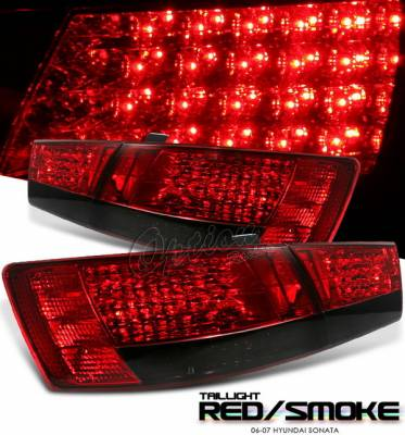 OptionRacing - Hyundai Sonata Option Racing LED Taillights - Red & Smoke LED Taillights - 21-22127