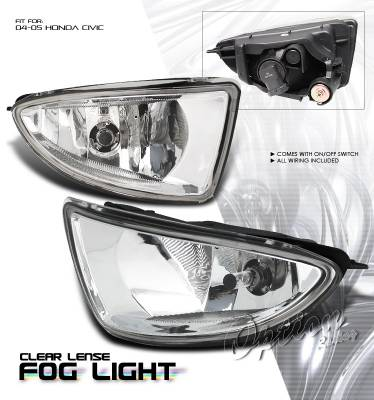 OptionRacing - Honda Civic Option Racing Fog Light Kit - 28-20174