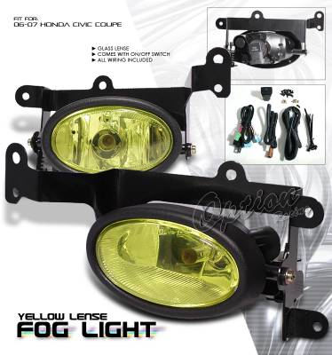 OptionRacing - Honda Civic Option Racing Fog Light Kit - 28-20187