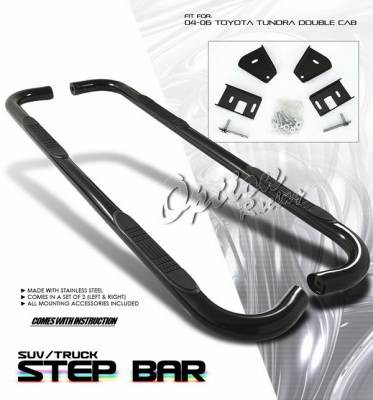 OptionRacing - Toyota Tundra Option Racing Side Step Bar - Black - 30-44194