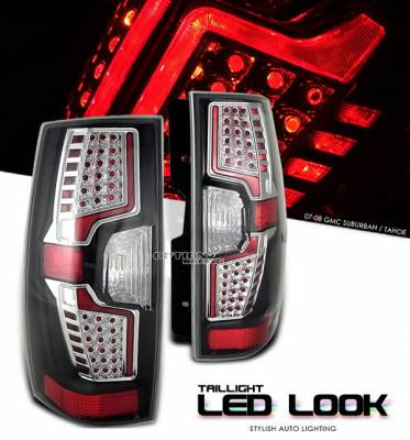 OptionRacing - Chevrolet Suburban Option Racing Taillights - LED Look - Black with Chrome Ring - 17-15144