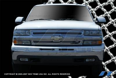 SES Trim - Chevrolet Silverado SES Trim Chrome Plated Stainless Steel Mesh Grille - MG117