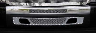 T-Rex - Chevrolet Silverado T-Rex X-Metal Series Studded Bumper Grille - Polished Stainless Steel - 2PC - 6721120