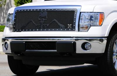 T-Rex - Ford F150 T-Rex Urban Assault Grunt Studded Main Grille with Soldier - Black OPS Flat Black - Custom 1PC Opening - 7115686