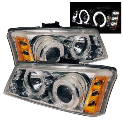 Spyder - Chevrolet Silverado Spyder Projector Headlights - LED Halo - LED - Amber Reflector - Chrome - 444-CS03-AM-C