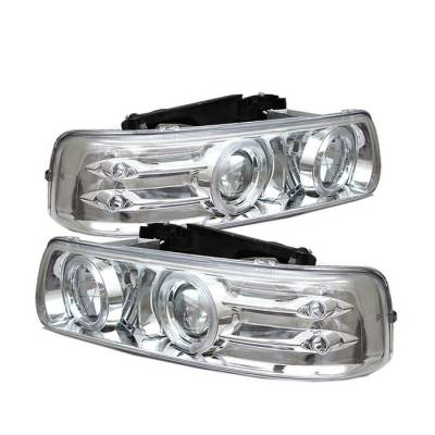 Spyder - Chevrolet Silverado Spyder Projector Headlights - LED Halo - LED - Chrome - 444-CS99-HL-C