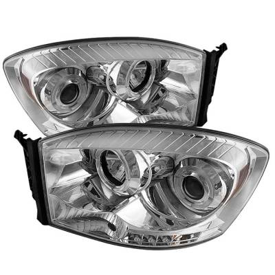 Spyder - Dodge Ram Spyder Projector Headlights - LED Halo - LED - Chrome - 444-DR06-HL-C