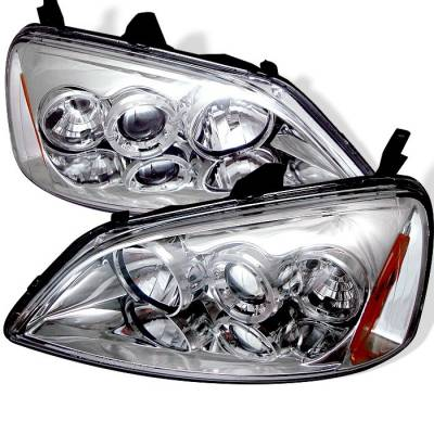 Spyder - Honda Civic 2DR & 4DR Spyder Projector Headlights - LED Halo - Amber Reflector - Chrome - 444-HC01-AM-C