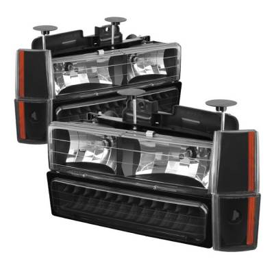 Spyder - Chevrolet Silverado Spyder Crystal Headlights with Corner & LED Bumper - Black - HD-JH-GMCCK88-LED-AM-BK-SET