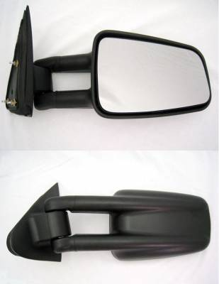 Suvneer - GMC Sierra Suvneer Standard Extended Towing Mirrors with Wide Angle Glass Insert on Right Mirrors - Black - Left & Right Side - CVE5-9410-G0