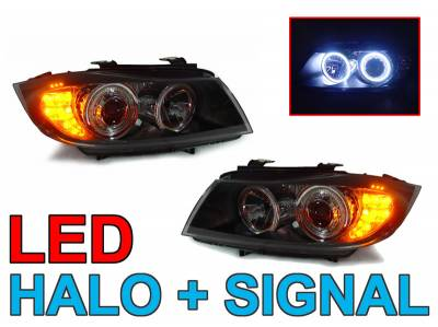 Depo - BMW E90/E91 Depo Uhp Led Angel Eye Projector DEPO Headlight H7 Housing+Corner