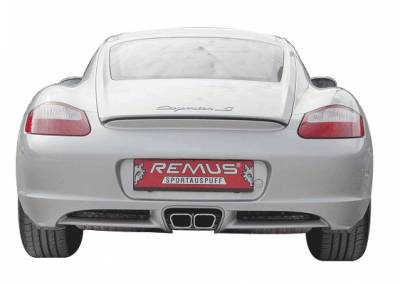 Remus - Porsche Cayman Remus Mounting Connection Tube with Dual Exhaust Tips - Trapezoid - 688005 0626