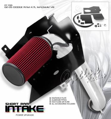 OptionRacing - Dodge Ram Option Racing Air Intake System - Polish with Filter - 37-17110