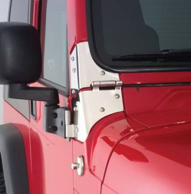 Rampage - Jeep Wrangler Rampage Windshield Hinges - Stainless - 7403