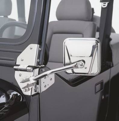 Rampage - Jeep CJ Rampage Side Mirrors - Stainless - 7417