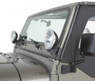 Rampage - Jeep Wrangler Rampage Windshield Hinge Light Brackets - Stainless - 7490
