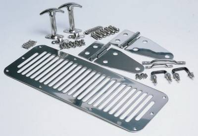 Rampage - Jeep CJ Rampage Hood Set - Stainless - 7499