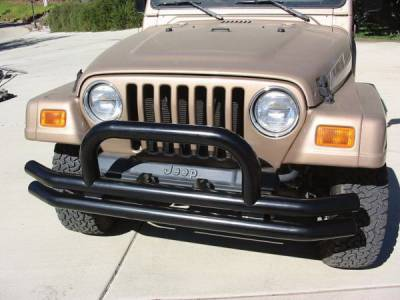 Rampage - Jeep CJ Rampage Double Tube Bumper - Front with Hoop - Black - 8620