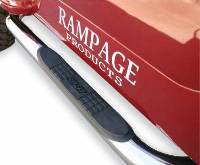 Rampage - Ford F150 Rampage SRS Side Bars with Recessed Step - 2 Inch - Pair - Black Powder Coat - 16216