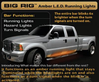 Recon - Recon 62 Inch Big Rig LED Running Light Body Kit in Amber - 26414