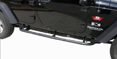 Rampage - Jeep Wrangler Rampage SRS Side Bar Retractable Rockslider Step - Textured Finish - 76632