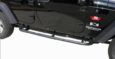 Rampage - Jeep Wrangler Rampage SRS Side Bar Retractable Rockslider Step - Textured Finish - 76632