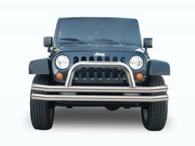 Rampage - Jeep Wrangler Rampage Double Tube Bumper - Front with Hoop - Stainless Steel - 86420