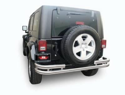 Rampage - Jeep Wrangler Rampage Double Tube Rear Bumper - Black - 86648