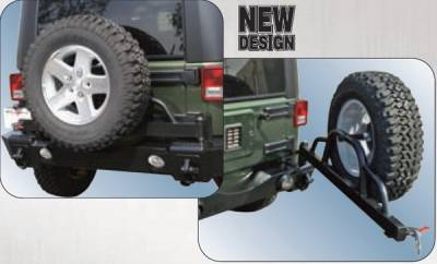 Rampage - Jeep Wrangler Rampage Recovery Bumper - Rear with Swing Away Tire Mount - Textured finish - 88606